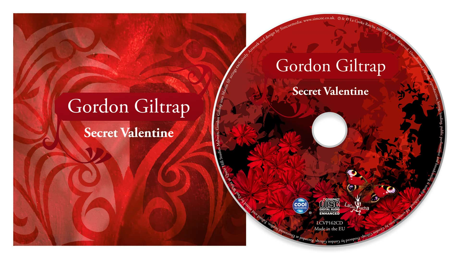 Gordon Giltrap CD and inlay booklet artwork design for Secret Valentine album