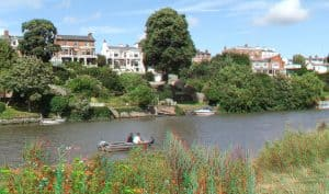 River Dee Meadows and Houses in Chester