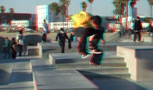 Skateboarders at Venice Beach Skate Park in Los Angeles